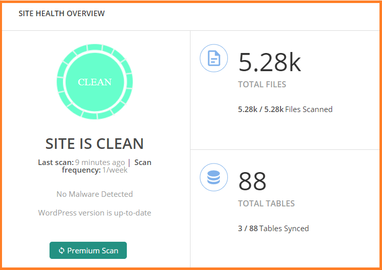 site health overview after scanning with MalCare plugin