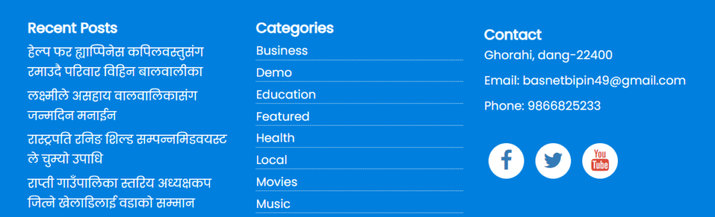 Social Media Icons in Footer
