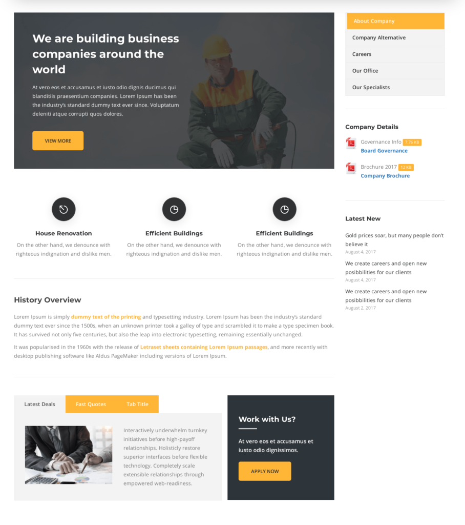about us page in construction company website